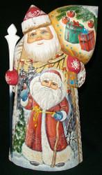 MARVELOUS RUSSIAN HAND PAINTED SANTA CLAUS - SANTA & SNOWMAN #9074
