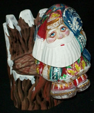 FUN HAND PAINTED RUSSIAN SANTA CLAUS SITTING ON A STUMP #8798