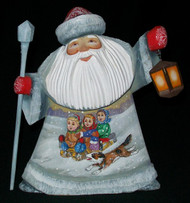 Russian Santa w/ Children Sledding #7775 – Hand Painted Linden Wood Santa Claus