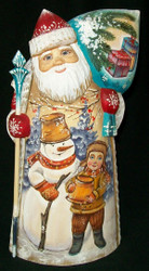 MARVELOUS RUSSIAN HAND PAINTED SANTA CLAUS w/CHILDREN PLAYING IN THE SNOW #3484