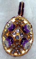 OPULANT Russian Faberge Egg Charm PURPLE, WHITE & GOLD #1460