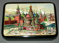 ST. BASIL'S HANDCRAFTED RUSSIAN MOTHER OF PEARL LACQUER BOX #8797