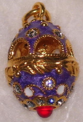 ORNATE FABERGE RUSSIAN EGG CHARM - PURPLE, GOLD, WHITE w/ WHITE CRYSTALS #1598