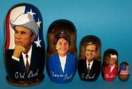 George W. Bush & Bush Family 5pc Matryoshka Nesting Set w/ Laura & Barbara #5488