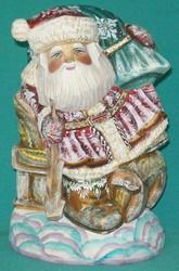 Russian Santa Claus Riding Sleigh w/ Orthodox Church & Golden Onion Domes #0910