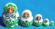CUTE GREEN & WHITE Miniature 5pc Russian Matryoshka Nesting Doll #0015
