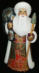 STUNNING RED, BLUE & GOLD HAND CARVED & HAND PAINTED RUSSIAN SANTA CLAUS #3913