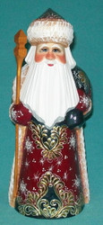 Golden Snowflake w/ Toy Bag Santa #2355 – Handpainted Russian Golden Uzor Statue