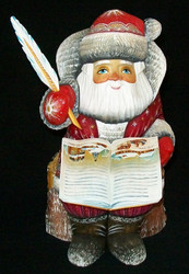 Russian Hand Painted Santa Claus Writing a Storybook #1577