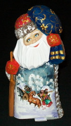 Beautiful Russian Hand Painted Santa Claus w/ Traditional Troika Scene #0068