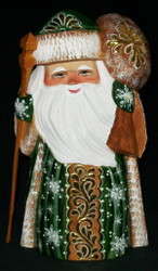 Golden Floral Design w/ Toy Bag #9206 Handpainted Russian Linden Wood Uzor Santa