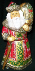 MARVELOUS OLD WORLD HAND CARVED RUSSIAN SANTA #8381 w/ RUSTIC WALKING STICK