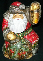 MARVELOUS OLD WORLD HAND CARVED RUSSIAN SANTA  CLAUS #2812 w/ LANTERN