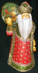 MAGNIFICENT HAND PAINTED RUSSIAN SANTA CLAUS w/ LANTERN #4349 - BERRIES ON PACK