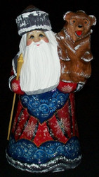 RUSSIAN HAND CARVED & HAND PAINTED RED & BLUE SANTA CLAUS w/ BEAR #4446