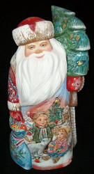 Unbelievably Detailed Hand Painted Russian Santa Claus - Children Sledding #0001