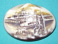 GORGEOUS BLACK & WHITE RUSSIAN MOTHER OF PEARL BOX ST. PETERSBURG CHURCH & WHARF