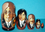 WOW! FABULOUS HAND PAINTED BEATLES 5PC MATRYOSHKA NESTING SET #6796
