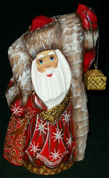 BEAUTIFUL SANTA CLAUS w/LANTERN HAND CARVED & HAND PAINTED WOODEN STATUE #3414
