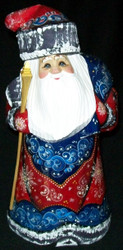 HAND PAINTED RED, WHITE & BLUE RUSSIAN SANTA / GRANDFATHER FROST #8452