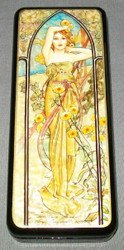 RUSSIAN HANDPAINTED MOTHER OF PEARL LACQUER BOX - LOVELY MAIDEN #0655