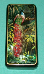 RUSSIAN HAND PAINTED BRIGHTLY COLORED PEACOCK MOTHER OF PEARL LACQUER BOX #0102