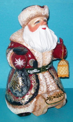 Santa on a Sleigh - Hand Carved & Hand Painted Golden Uzor Russian Santa #1690
