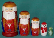 FESTIVE 5 PC HAND CARVED & HAND PAINTED SANTA FAMILY NESTING SET #8623