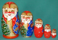 BRIGHTLY COLORED GLITTERY GOLD 5 PC RUSSIAN SANTA CLAUS NESTING SET #8641