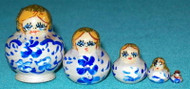 BLUE & WHITE 5PC MINIATURE MATRYOSHKA NESTING DOLL #9748