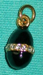 CLASSIC BLACK & GOLD RUSSIAN FABERGE EGG CHARM w/ WHITE CRYSTALS #2699