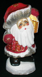 BRIGHT LANTERN - HAND CARVED & PAINTED RUSSIAN SANTA CLAUS #5176