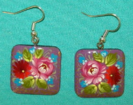 PURPLE & PINK HAND CRAFTED FLORAL RUSSIAN PAPIER MACHE EARRINGS #7772