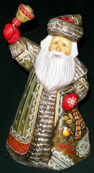 HAND PAINTED RUSSIAN OLD WORLD SANTA CLAUS #7457 w/BELL, BIRD & BERRIES