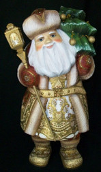 WOW! GORGEOUS HAND PAINTED RUSSIAN SANTA CLAUS w/ CHRISTMAS TREE & LANTERN #7189