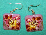 PINK & BURGUNDY HAND PAINTED RUSSIAN FLORAL EARRINGS #7777