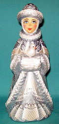 LOVELY HAND PAINTED RUSSIAN SNOW MAIDEN STATUE - HOLDING A DOVE #4801