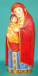 MADONNA & CHILD HAND CARVED & PAINTED RUSSIAN STATUETTE