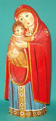 BRIGHTLY COLORED HANDCARVED, HANDPAINTED RUSSIAN MADONNA & CHILD