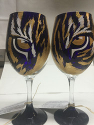 Hand-Painted Tiger Eye Wine Glass
