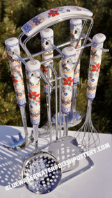 Polish Pottery Hanging Utensils Set of Six - Grandma's Garden