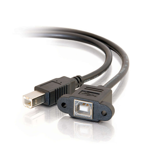 C2G-28074 | 3ft Panel-Mount USB 2.0 B Female to B Male Cable