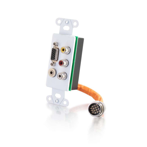 C2G-60022 | RapidRun Integrated VGA (HD15) + 3.5mm + Composite Video + Stereo Audio Wall Plate - White