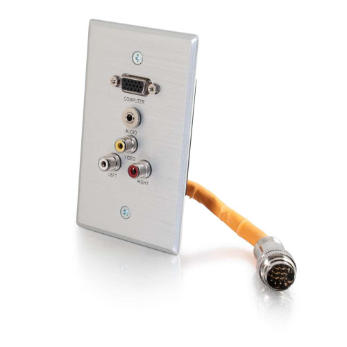 C2G-60032 | RapidRun Single Gang Integrated VGA (HD15) + 3.5mm + RCA Audio/Video Wall Plate - Brushed Aluminum