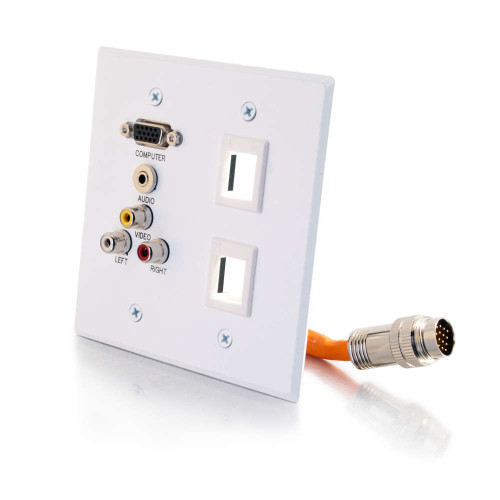 C2G-60037   RapidRun Double Gang Integrated VGA (HD15) + 3.5mm + Composite Video + Stereo Audio + 2 Keystones Wall Plate - White