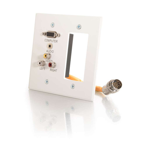 C2G-60041 | RapidRun Double Gang Integrated VGA (HD15) + 3.5mm + Composite Video + Stereo Audio + Wall Plate - White