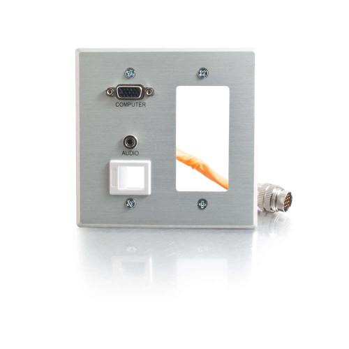 C2G-60056 | RapidRun Double Gang Integrated VGA (HD15) + 3.5mm + Keystone + Wall Plate