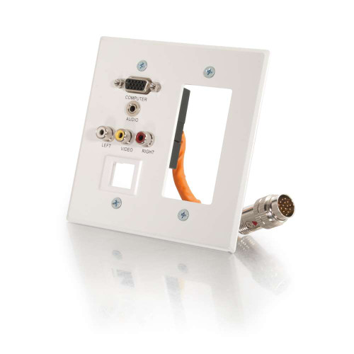 C2G-60080 | RapidRun Double Gang Integrated VGA (HD15) + 3.5mm + Composite Video + Stereo Audio + Keystone + Wall Plate - White