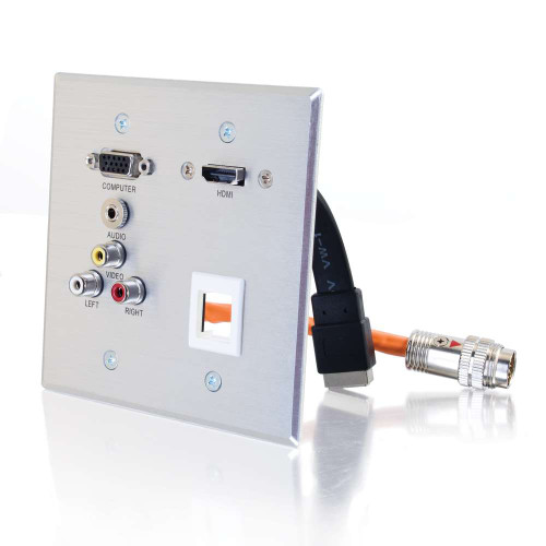C2G-60116 | RapidRun Double Gang HD15 + 3.5mm + Composite Video + Stereo Audio + Keystone + HDMI Pass Through Wall Plate