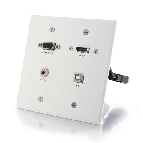 C2G-60146 | RapidRun VGA + 3.5mm Double Gang Wall Plate + HDMI and USB Pass Through - White